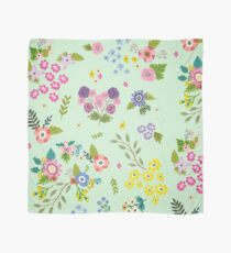Garden Floral On Mint Green Scarf