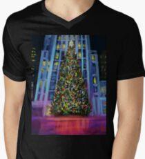 Camiseta para hombre de cuello en v Navidad en Manhattan DP150902b