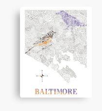 Baltimore City oriole/raven Neighborhood Map Canvas Print