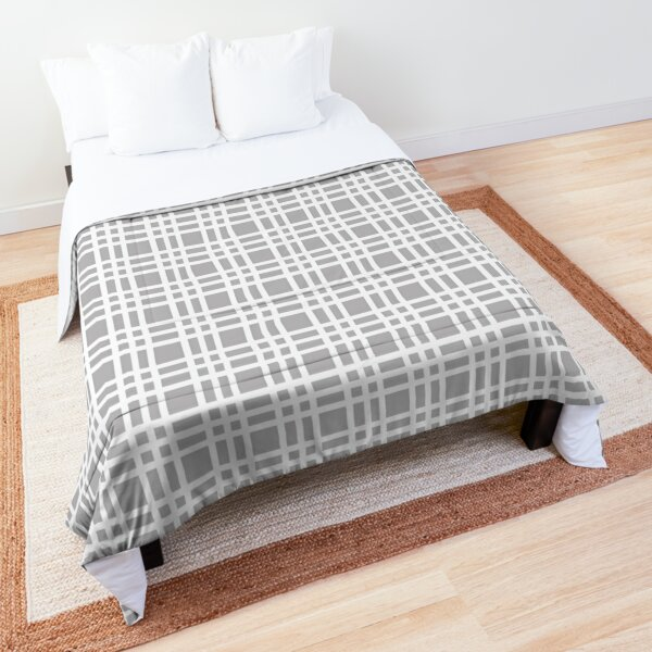 White on Silver Plaid Comforter