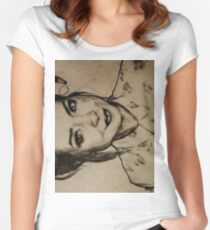 Zoella charcoal portrait. Women's Fitted Scoop T-Shirt