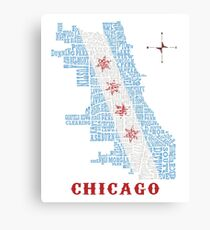 Chicago Flag Neighborhood Map Canvas Print