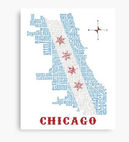 Chicago Flag Neighborhood Map Canvas Print