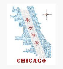 Chicago Flag Neighborhood Map Photographic Print