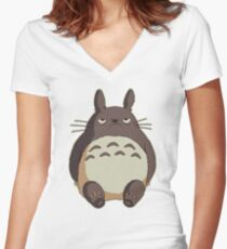 Grumpy Totoro Women's Fitted V-Neck T-Shirt
