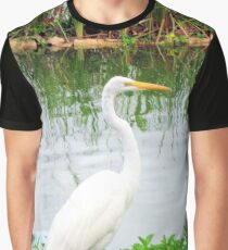 Birds | Bird | Great White Egret | Nature Graphic T-Shirt