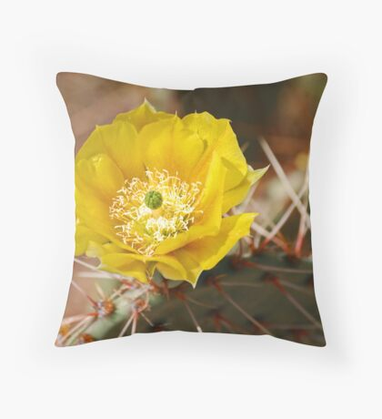 Prickly Pear Flower Throw Pillow
