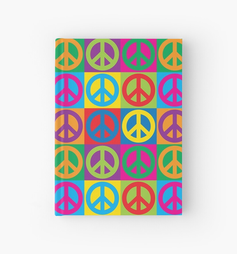 Pop Art Peace Symbols Hardcover Journals By Lisann Redbubble