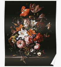 Rachel Ruysch - Flowers In A Glass Vase1704 . Still life with flowers:  bouquet, flowers, bumblebee , carnations, peonies, roses, tulips,  marigolds,  life, garden, blossom Poster