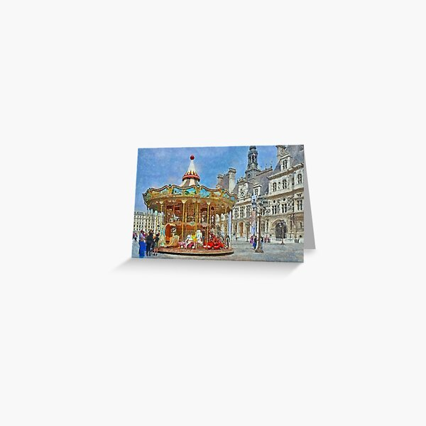 Carousel in Front of the Hotel de Ville in Paris Greeting Card