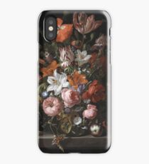 Rachel Ruysch - Flowers In A Glass Vase. Still life with flowers:  bouquet, flowers, bumblebee , carnations, peonies, roses, tulips,  marigolds,  life, garden, blossom iPhone Case/Skin