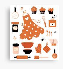 Black and orange retro baking set Canvas Print