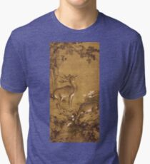 Shen Nanpin - A Birthday Painting, Qing Dynasty (1644-1911). Forest view: forest , trees, fauna, nature, birds, animals, flora, flowers, plants, field, weekend Tri-blend T-Shirt