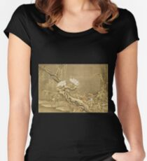 Shen Nanpin - Album Of Birds And Animals (Cranes). Forest view: forest , trees,  fauna, nature, birds, animals, flora, flowers, plants, field, weekend Women's Fitted Scoop T-Shirt
