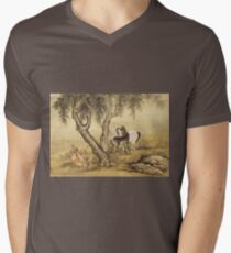 Shen Nanpin - Album Of Birds And Animals (Horses). Forest view: forest , trees,  fauna, nature, birds, animals, flora, flowers, plants, field, weekend Mens V-Neck T-Shirt