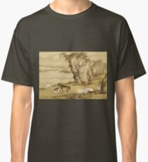 Shen Nanpin - Album Of Birds And Animals (Sheep And Goats). Forest view: forest , trees,  fauna, nature, birds, animals, flora, flowers, plants, field, weekend Classic T-Shirt