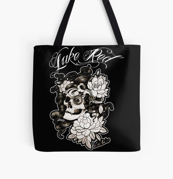Teschio con peonie by Luke Red All Over Print Tote Bag