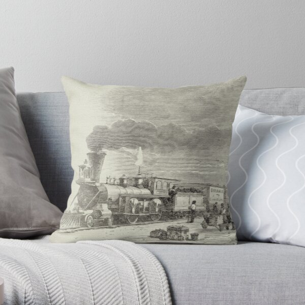 Union Pacific Railroad Station Throw Pillow