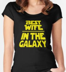Best Wife in the Galaxy - Title Crawl Women's Fitted Scoop T-Shirt