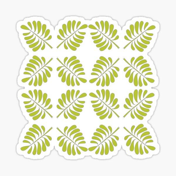 Gefiedertes Blatt in grün auf schwarzem Grund Sticker