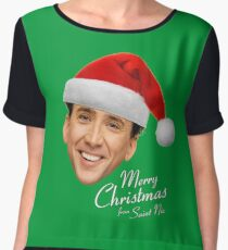 Merry Christmas from St Nic-olas Cage Chiffon Top