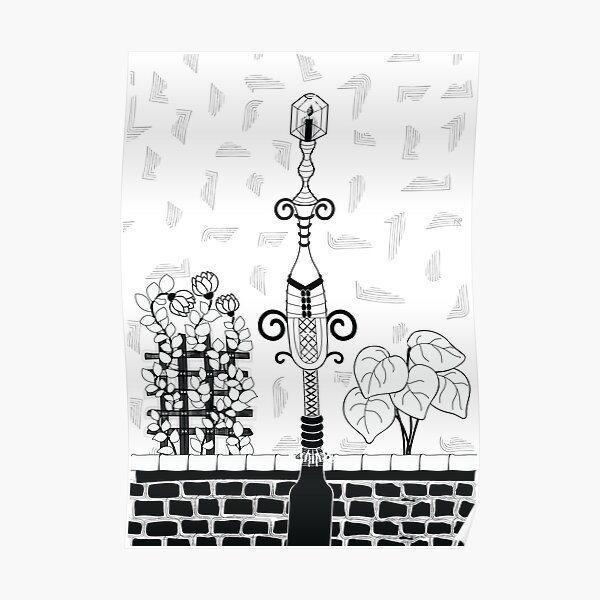Antique Street Lamp with Flowers Poster