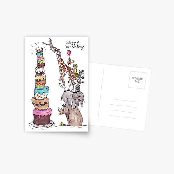 Zoo Animals Happy Birthday Postcard