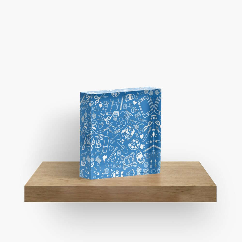 Doodle for creatives or back to school - white on blue Acrylic Block