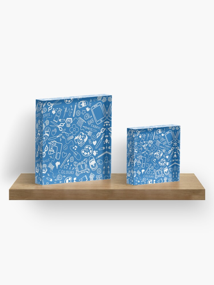 Alternate view of Doodle for creatives or back to school - white on blue Acrylic Block