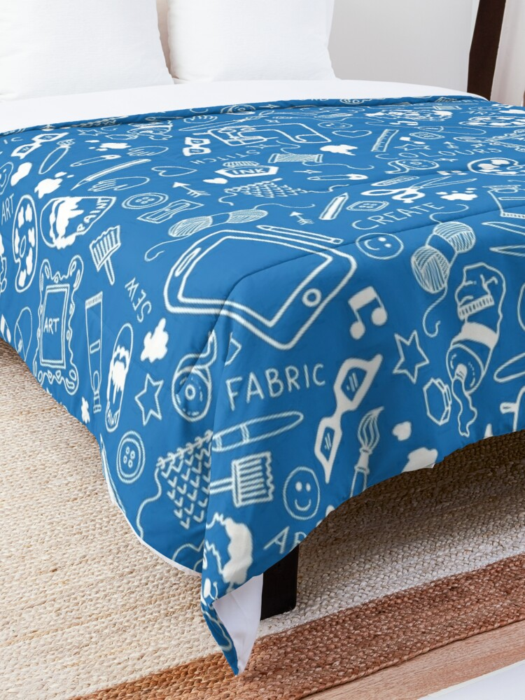 Alternate view of Doodle for creatives or back to school - white on blue Comforter