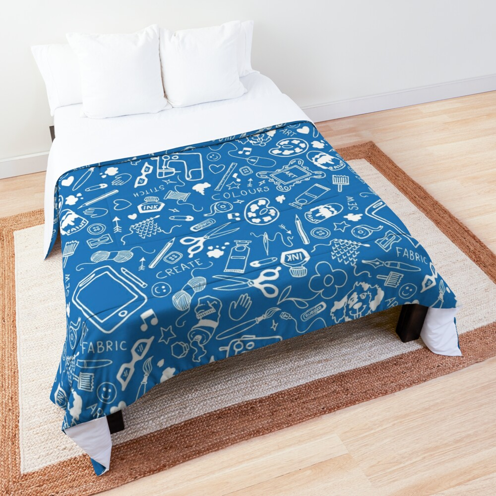 Doodle for creatives or back to school - white on blue Comforter