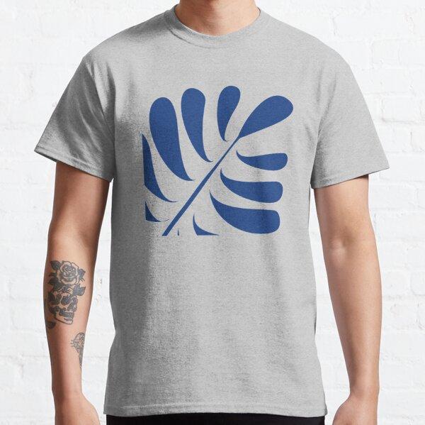 Gefiedertes Blatt blau auf orange Classic T-Shirt