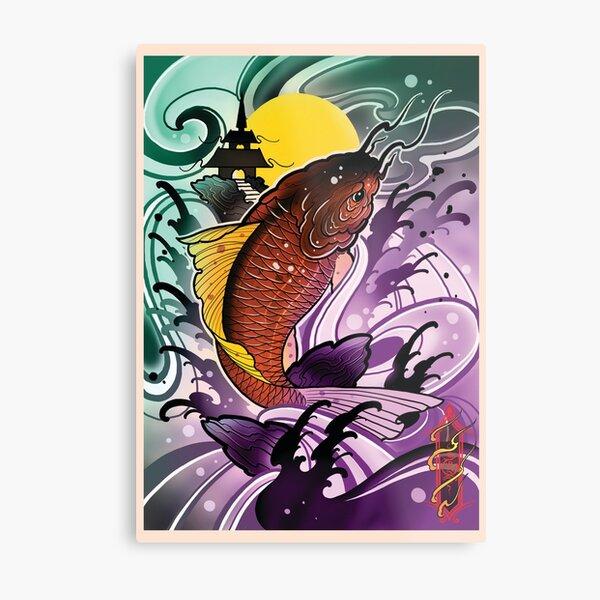 koi fish by Luke Red Metal Print