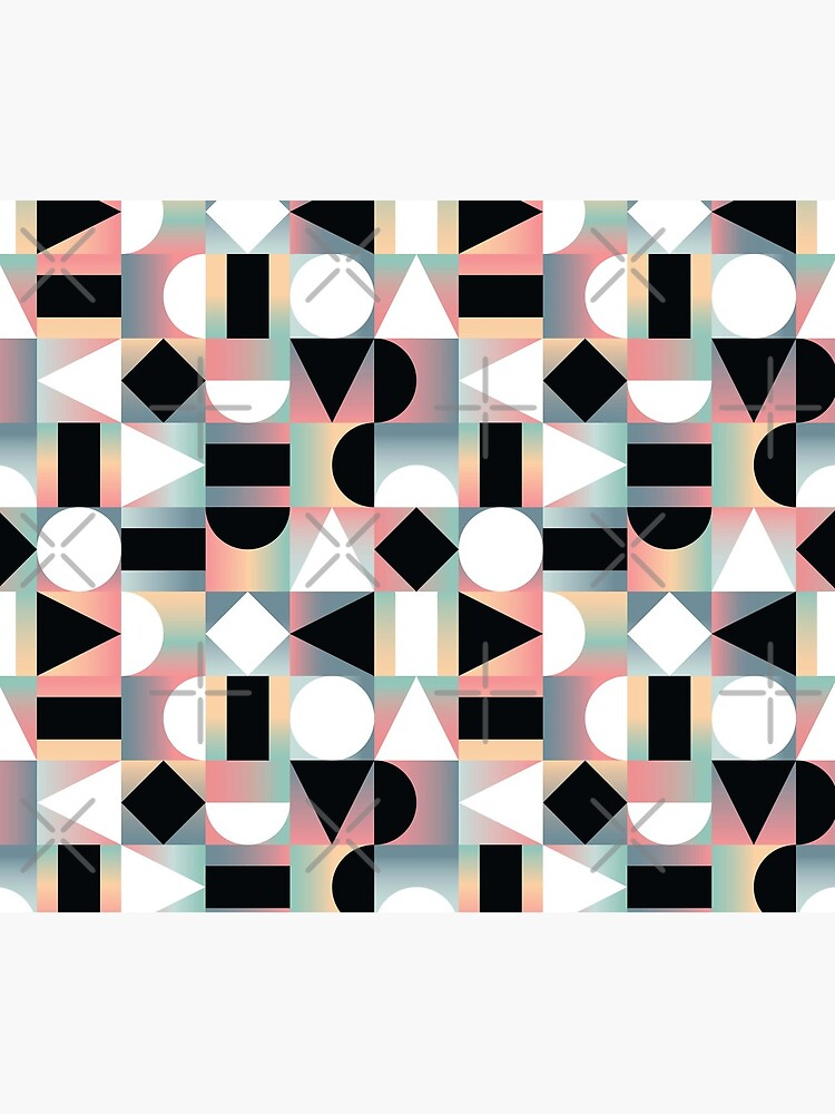 Abstract Geometric Composition Black and White Shapes on Checkered Gradients - Ombré by PrintablesP