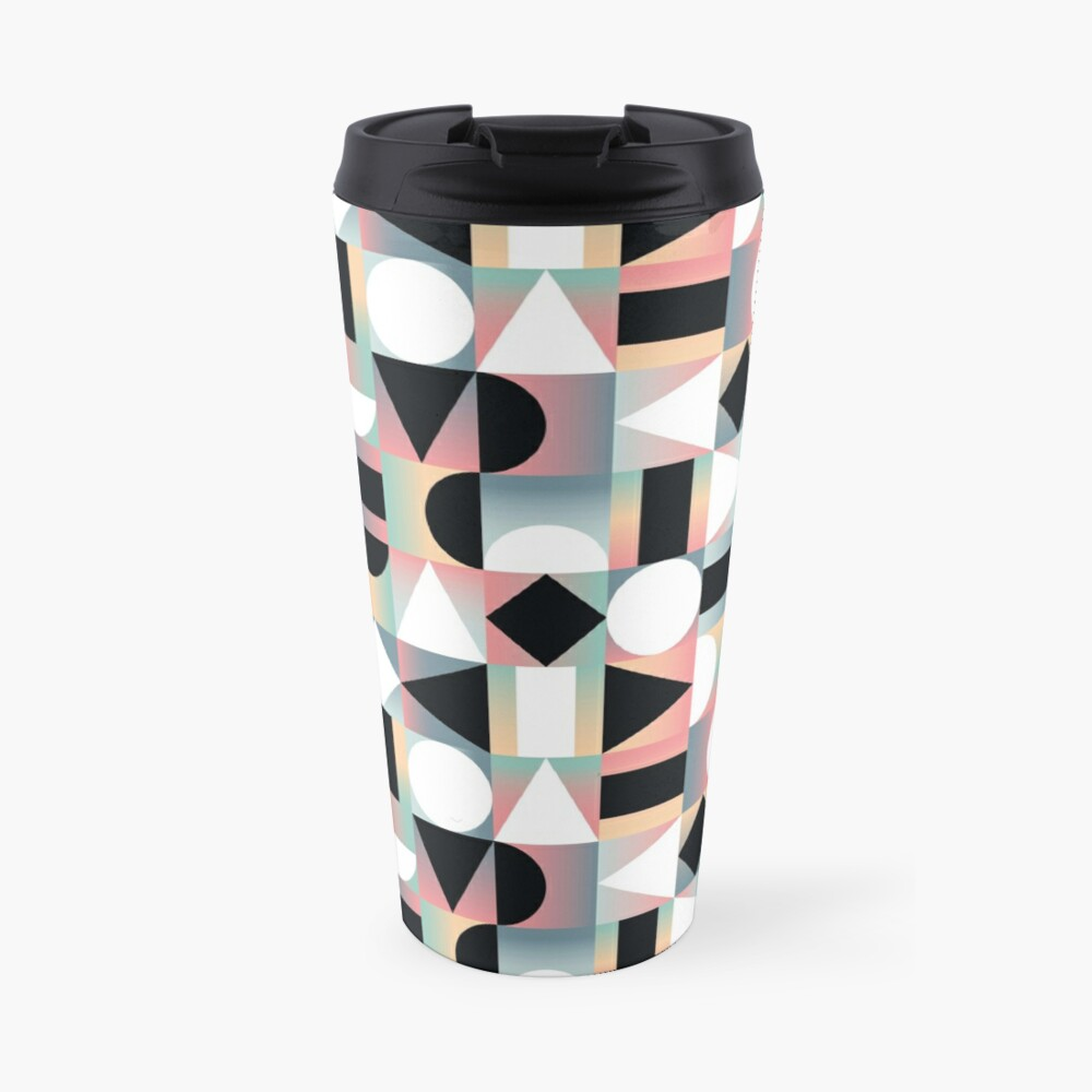 Abstract Geometric Composition Black and White Shapes on Checkered Gradients - Ombré Travel Mug