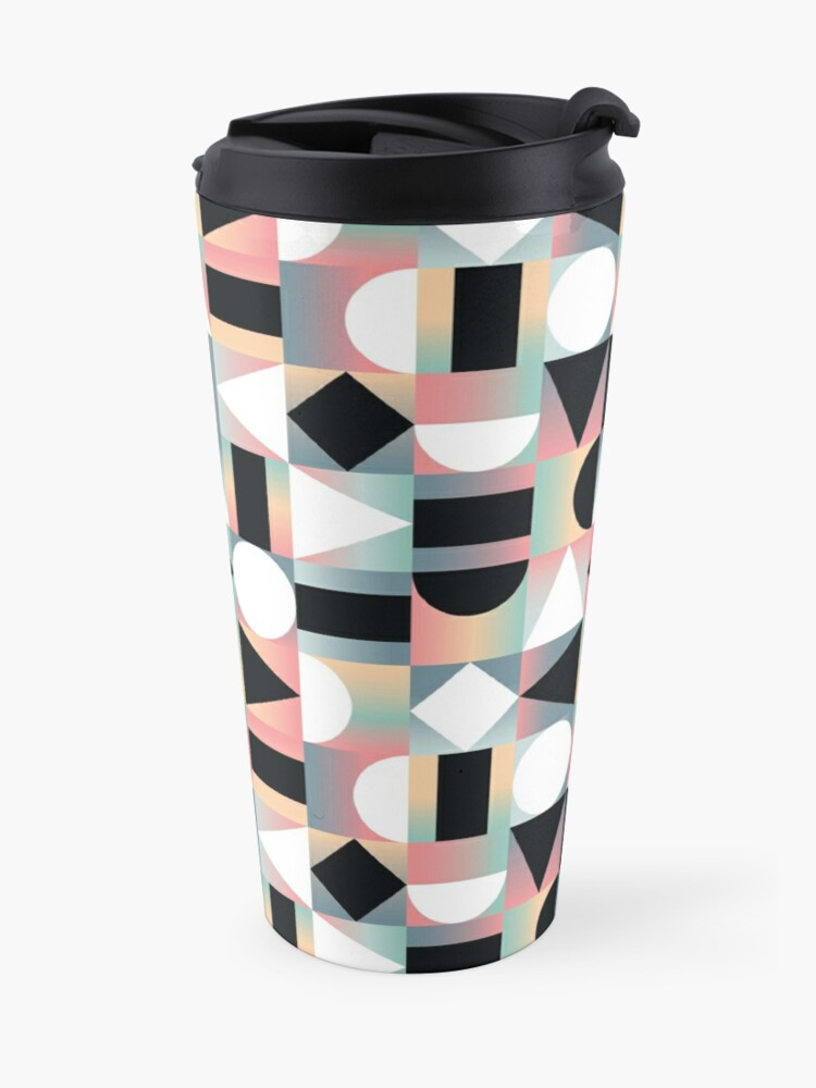 Alternate view of Abstract Geometric Composition Black and White Shapes on Checkered Gradients - Ombré Travel Mug