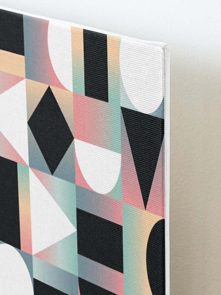 Alternate view of Abstract Geometric Composition Black and White Shapes on Checkered Gradients - Ombré Mounted Print