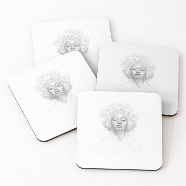 Empowered Black Woman - Black& White Pencil Line Sketch - Drawing by MadliArt Coasters (Set of 4)