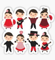 Happy flamencas on green Sticker