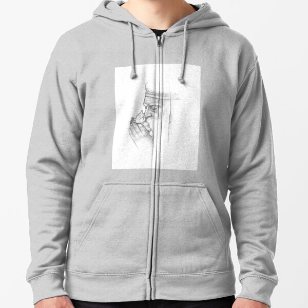 Wise Man - Black& White Pencil Line Sketch - Drawing by MadliArt Zipped Hoodie