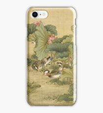Shen Nanpin - Album Of Birds And Animals (Mandarin Ducks And Lotus Flowers). Forest view: forest , trees,  fauna, nature, birds, animals, flora, flowers, plants, field, weekend iPhone Case/Skin