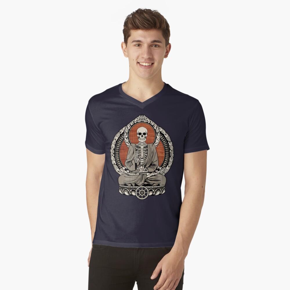 Skeleton Buddha Mens V-Neck T-Shirt Front