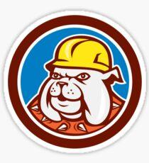 Bulldog Construction Worker Head Cartoon Sticker