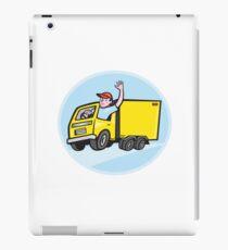 Delivery Truck Driver Waving Cartoon iPad Case/Skin