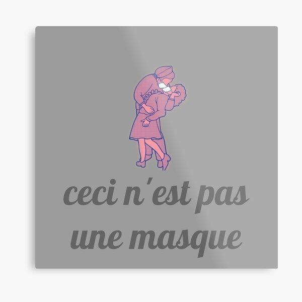 Magritte Mask - Ceci n'est pas une masque Metal Print
