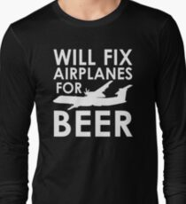 Will Fix Airplanes for Beer, Q400 Long Sleeve T-Shirt