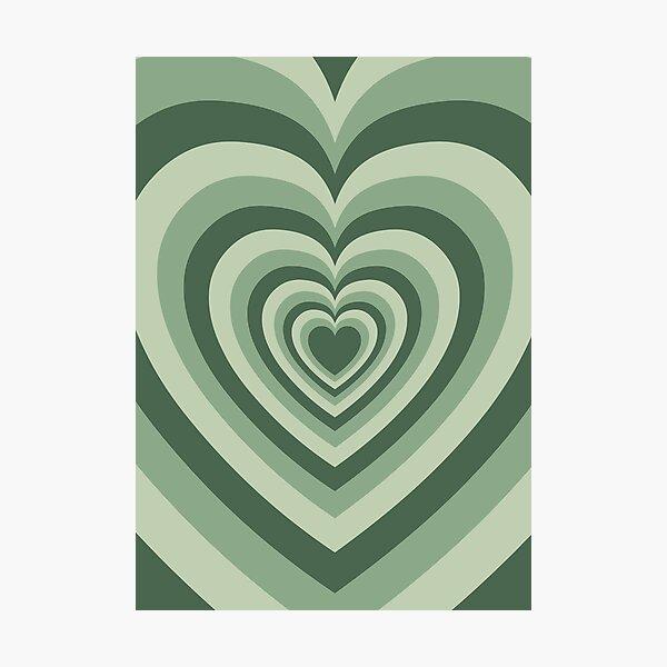 Sage Green Coffee Love Heart Latte Photographic Print