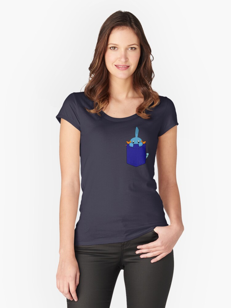 Mudkip in my Pocket Women's Fitted Scoop T-Shirt Front