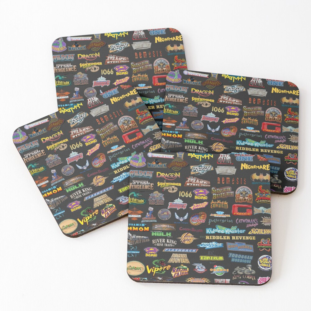 Roller Coasters Coasters (Set of 4)