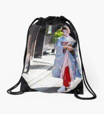 Walking in the Gion Drawstring Bag